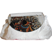 MOON BAGS 1980'S Hand-Painted Cleopatra Cream-White Leather