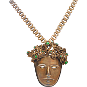 HATTIE CARNEGIE Rare Figural Woodland Nymph Pendant on Book Chain Necklace