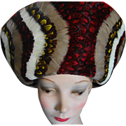 JACK McCONNELL Red Feather Multi-Colored Feathers and Red Felt Hat