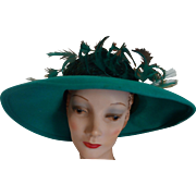"JACK McCONNELL Women's Green Wool Felt Hat With Green Ostrich Feathers & Scattered Rhinestones (22"" Circumference)"