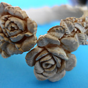 Carved Cabbage Rose Celluloid Bracelet