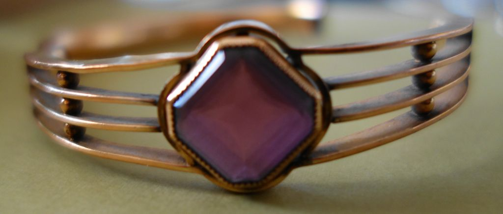Victorian 1910 Bracelet -- Gold-Filled With Amethyst Glass