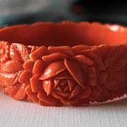 Coral Celluloid Bracelet & Dress Clips