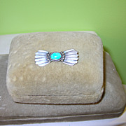 Vintage Native American Sterling Turquoise Brooch