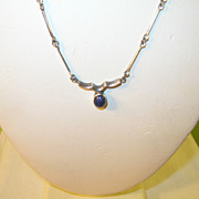 Vintage Sterling Link Necklace & Blue Lapis Pendant