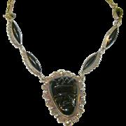 Vintage Mexican Sterling & Black Glass Link Necklace