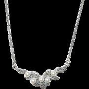 Vintage Sterling  Necklace & Pendant Faux Pearl & Marcasites