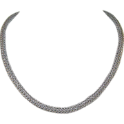 Vintage Sterling Woven Link Necklace