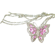 Vintage Sterling Necklace & Pendant Butterfly Design