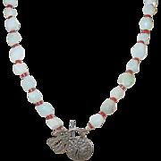 Vintage Jade Necklace & Sterling Catch