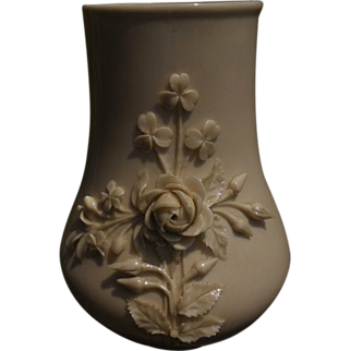 Belleek Achilles Vase with Applied Flowers-Green Mark