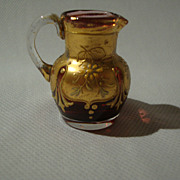 Antique Bohemien Moser Miniature Cased Glass Pitcher; Crystal over Cranberry