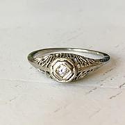 Fine Large Vintage European Cut Diamond Engagement Ring Cluster Ring