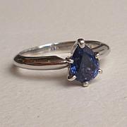 SALE Platinum Blue Sapphire Engagement Ring