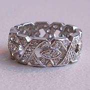Wide Diamond Platinum Wedding Band - Engagement Ring - Eternity Band