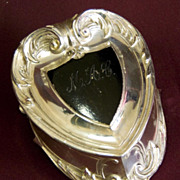 Art Nouveau Silverplate Footed Heart Shaped Jewelry or Trinket Box