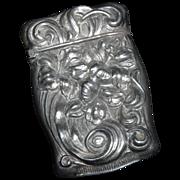 Match Safe or Vesta -  Sterling - Art Nouveau Style - Lilly theme