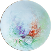 Set of Five Limoges Jean Pouyat Plates - Gorgeous Sea or Ocean Theme - Hand painted by artist 'M. Dignan' in Blues, Greens,  Pinks, Purples and Reds - 8 1/2""