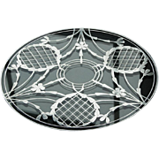 """Substantial Glass Tray with Sterling Overlay - 12"""""""