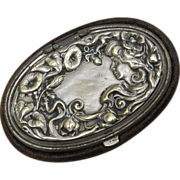 Art Nouveau Leather Coin Purse with Figural Lid - Lady with Flowing Hair among the Morning Glories