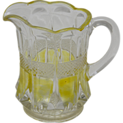 Yellow Stain Pattern Glass EAPG Creamer - Hard to Find!