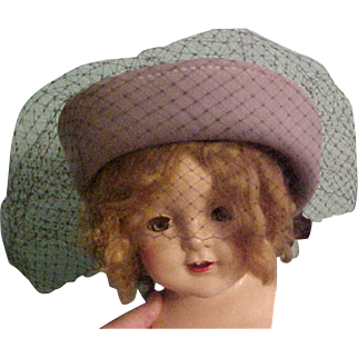 """Vintage gray 100% wool hat with black netting and huge black silky bow fits 17"""" size head 4 big doll"""
