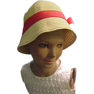 """Crazy 8 light bucket hat with red gros grain bow fits 21"""" head"""