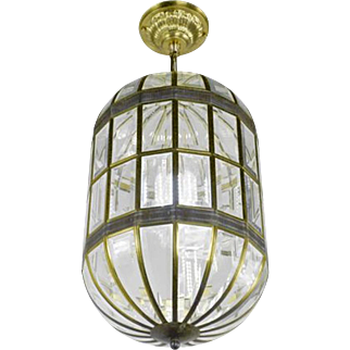 "Mid-Century Modern ""California Approved"" Beveled Glass Pendant Light (ANT-418)"