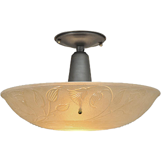 """Large Ceiling Bowl Light Fixture with 16"""" Diameter Lens Shade (ANT-522)"""