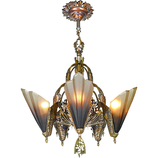 Art Deco Slip Shade 5 Light Chandelier by Mid West Mnf Circa 1935 (ANT-531)