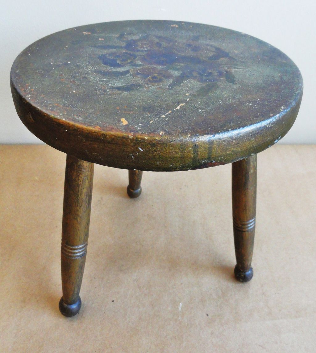 19th C. Paint Decorated Cricket Stool w/ Pansies