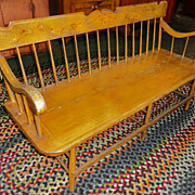 19th C. Paint Decorated Settee Bench w/ Birds