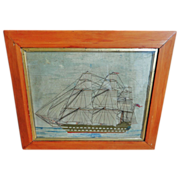 19th C. Wooley Needlework of a Sailing Ship