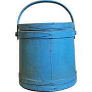 Signed Hersey Wooden Firkin in Old Blue Paint