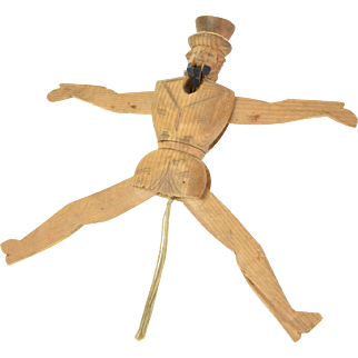 19th Century Uncle Sam Carved Wood String Jumping Jack Toy Puppet