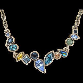 Vintage Patricia Locke Silvertone Necklace Blue Green Rhinestones