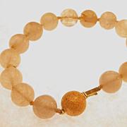 14K gold & Quartz Bead Bracelet hallmarked