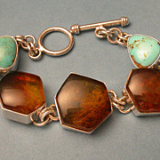Turquoise & Amber  Sterling Silver Toggle Bracelet
