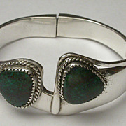 """Vintage Taxco Sterling Silver & Green Turquoise Hinged Bangle Bracelet Hallmarked   """"TL-88"""""""