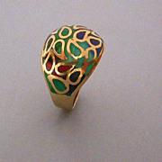 French 14K Gold Enamelled Ring hallmarked