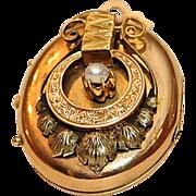 Antique Victorian 14K 3 Colored Gold Locket hallmarked