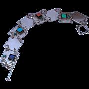 Vintage Modernist Sterling Silver  Link Bracelet Turquoise