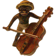 Cold Painted Austrian Bronze Black Boy Playing the Bass