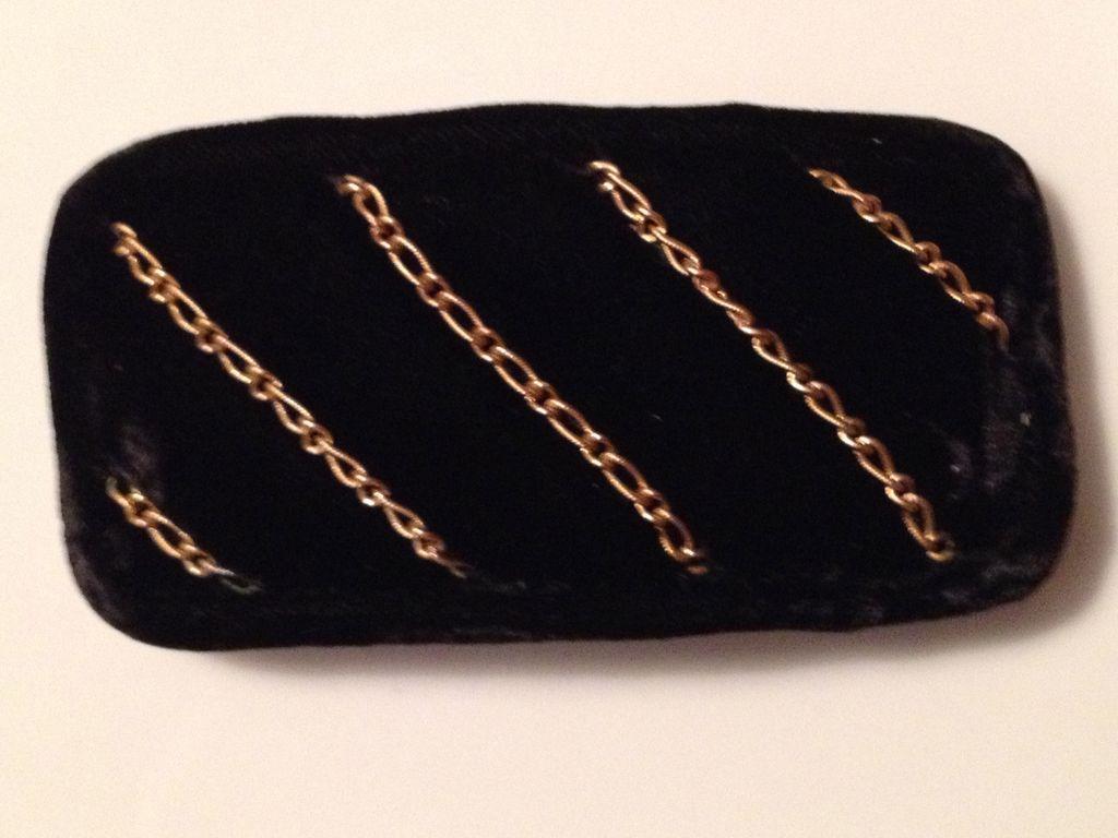 Vintage black velvet & goldtone Italian barrette