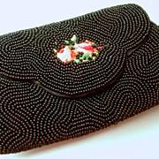 Hand made rare Schildkraut Brothers black beaded petite purse and hand mirror