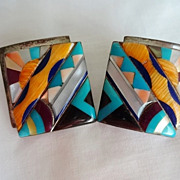 Vintage Silver and Shell Southwest Earrings