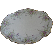 Limoges - Hand-painted 1896 - 1900 Lavender Floral Vanity Tray or Bridle plate - signed made in France