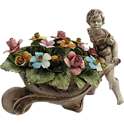 "Fabulous Capodimonte ""Boy Pushing Flower Cart"" Statue - made in Italy Early 1900's"