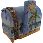 Hand-painted Limoges Mailbox w/Palm trees and Ocean-view Trinket box - signed - Limoges France