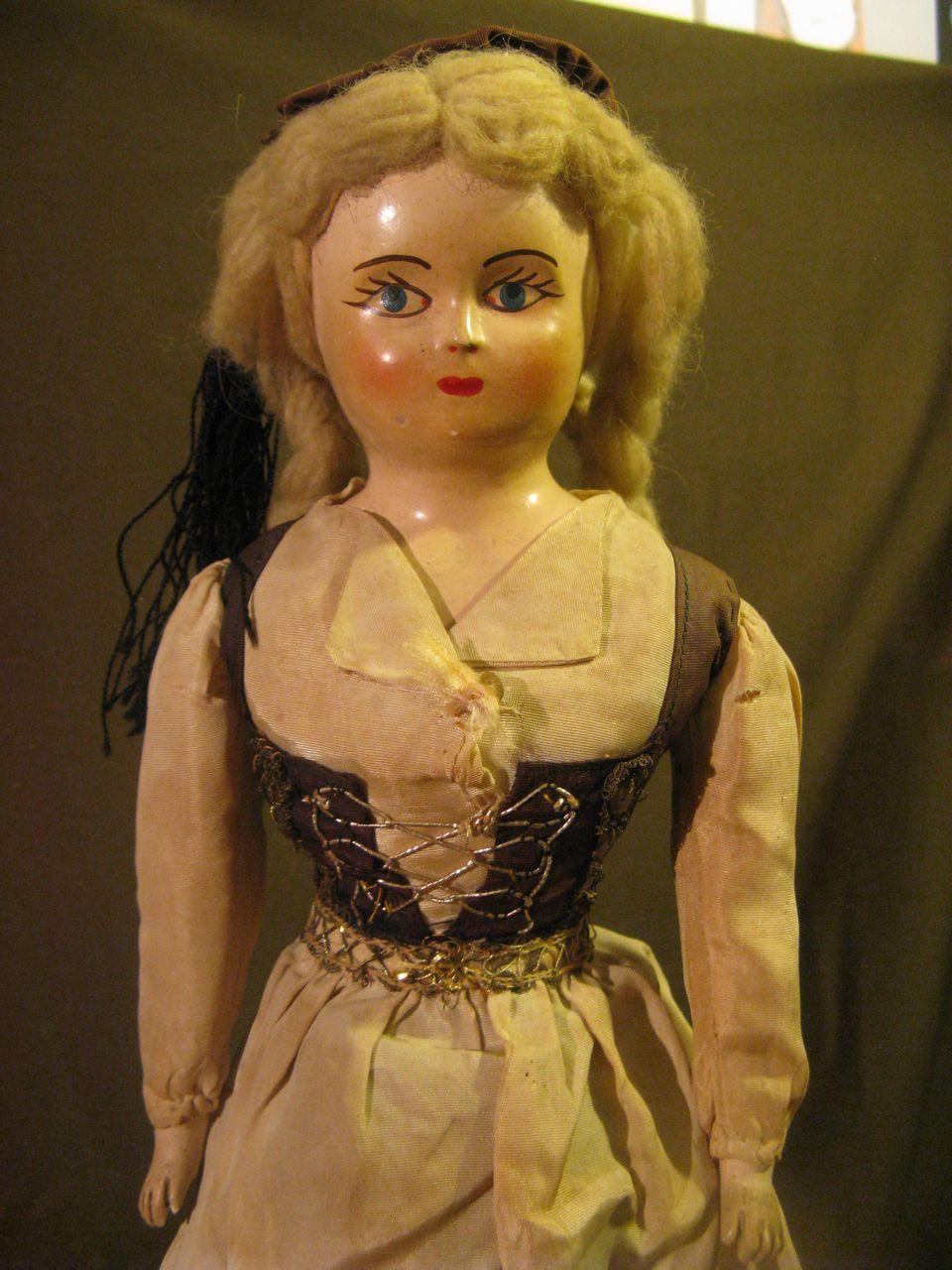 Eastern European Composition Cloth Doll, Mid 1900's